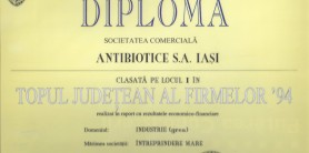 Diploma Topul Judetean al Firmelor 1994_S