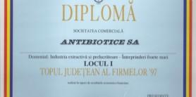 Diploma Topul Judetean al Firmelor 1997 CCM