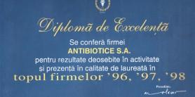 Diploma de excelenta Camera de Comert 96-97-98